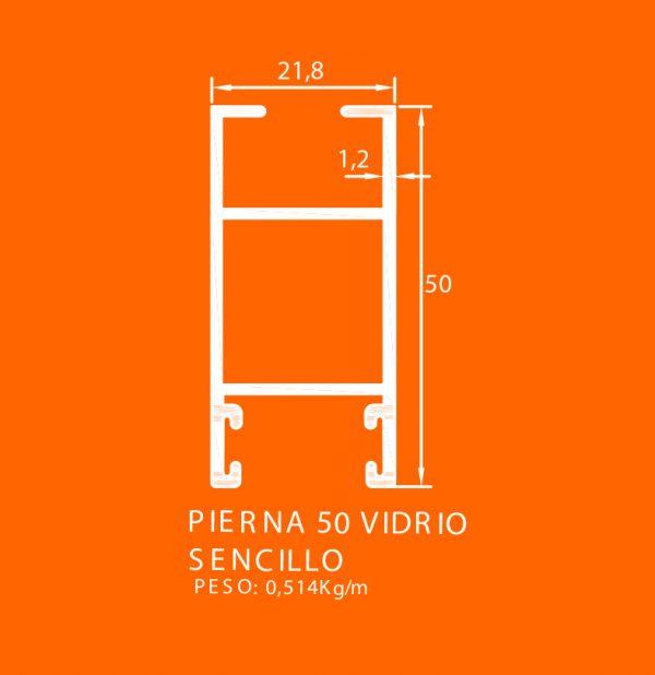 linea europea 06 Vidrio sencillo – 3 pierna 50