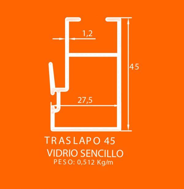linea europea 06 Vidrio sencillo – 4 traslapo 45
