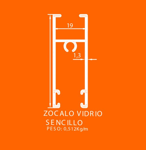 linea europea 06 Vidrio sencillo – 9 zocalo