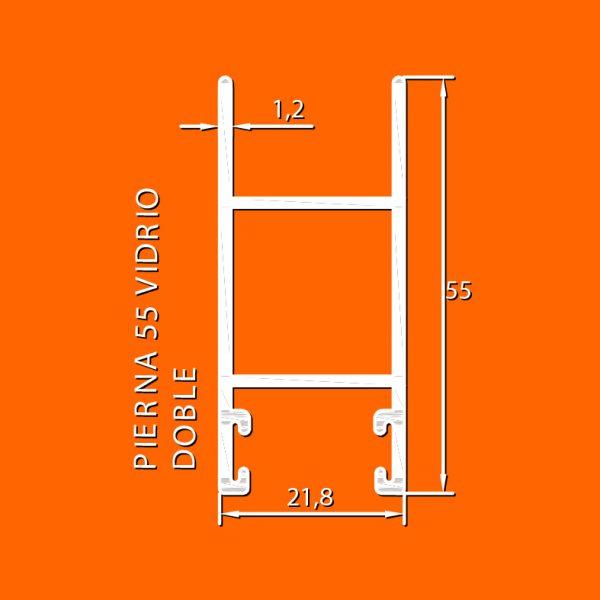 linea europea 06 Vidrio doble – 5 pierna 55 vidrio doble