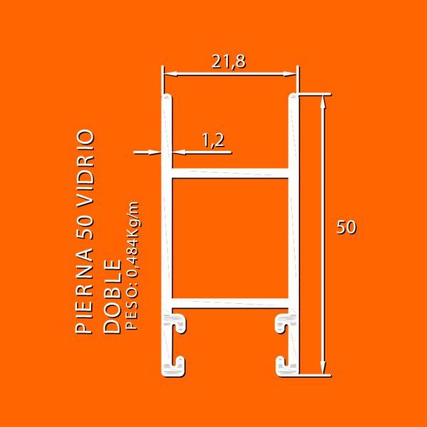 linea europea 06 Vidrio doble – 6 pierna 50 vidrio doble